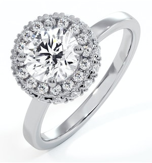 Eleanor GIA Diamond Halo Engagement Ring 18K White Gold 1.23ct G/VS1