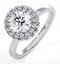 Eleanor GIA Diamond Halo Engagement Ring 18K White Gold 1.23ct G/VS1 - image 1