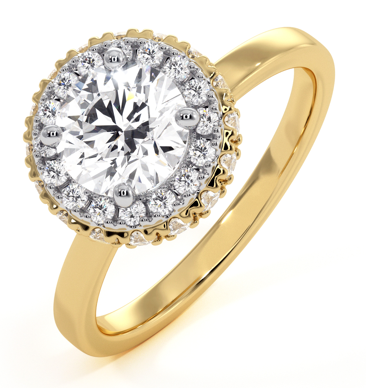 Eleanor GIA Diamond Halo Engagement Ring in 18K Gold 1.23ct G/VS1 - image 1
