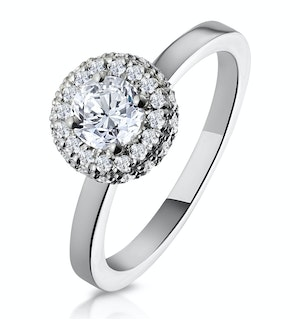 Eleanor GIA Diamond Halo Engagement Ring in Platinum 0.65ct G/SI2