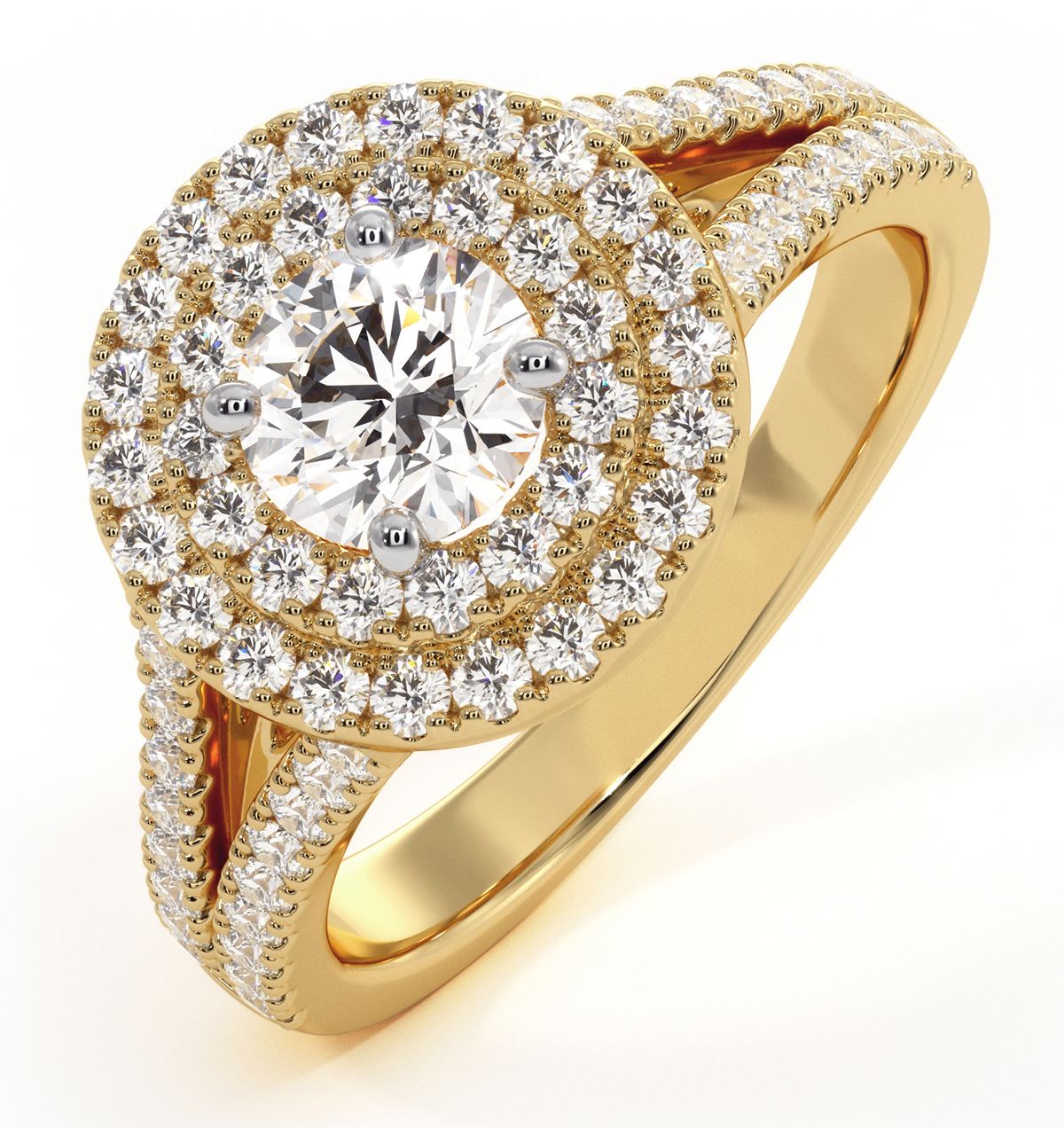 Camilla GIA Diamond Halo Engagement Ring in 18K Gold 1.15ct G/VS2 - image 1