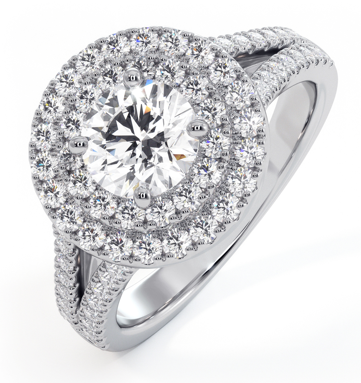 Camilla GIA Diamond Halo Engagement Ring in Platinum 1.65ct G/VS1 - image 1