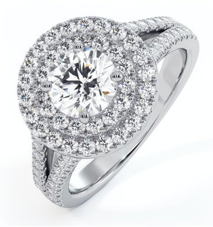 Camilla GIA Diamond Halo Engagement Ring in Platinum 1.65ct G/VS2