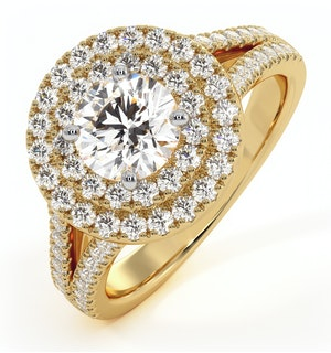 Camilla GIA Diamond Halo Engagement Ring in 18K Gold 1.65ct G/SI1