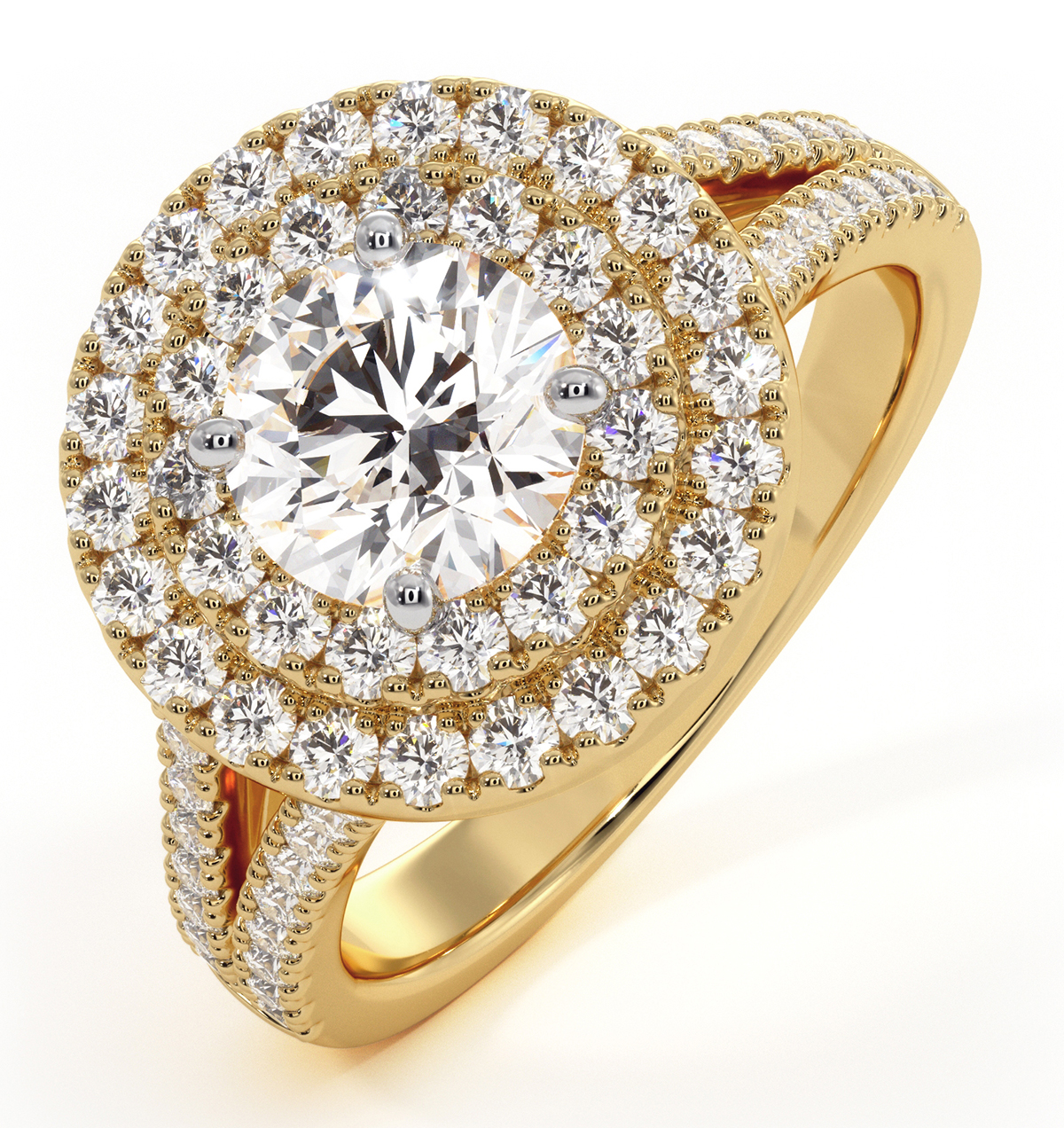 Camilla GIA Diamond Halo Engagement Ring in 18K Gold 1.85ct G/VS2 - image 1