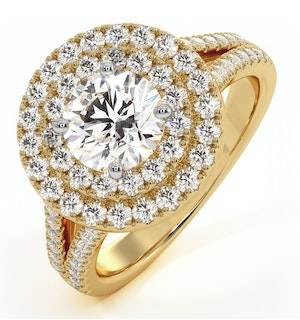 Camilla GIA Diamond Halo Engagement Ring in 18K Gold 1.85ct G/VS2