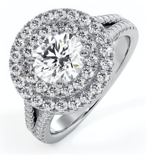 Camilla GIA Diamond Halo Engagement Ring 18K White Gold 2.15ct G/VS2