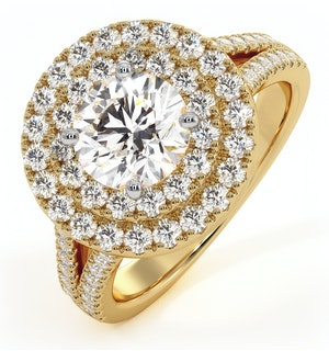 Camilla GIA Diamond Halo Engagement Ring in 18K Gold 2.15ct G/VS2