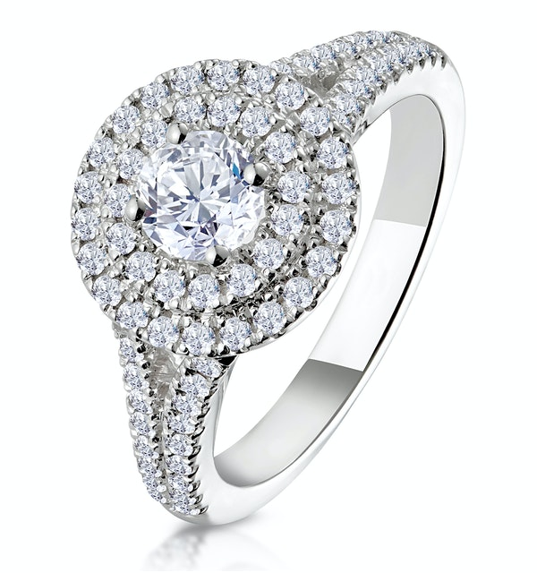 Camilla GIA Diamond Halo Engagement Ring 18K White Gold 1.15ct G/SI2 - image 1