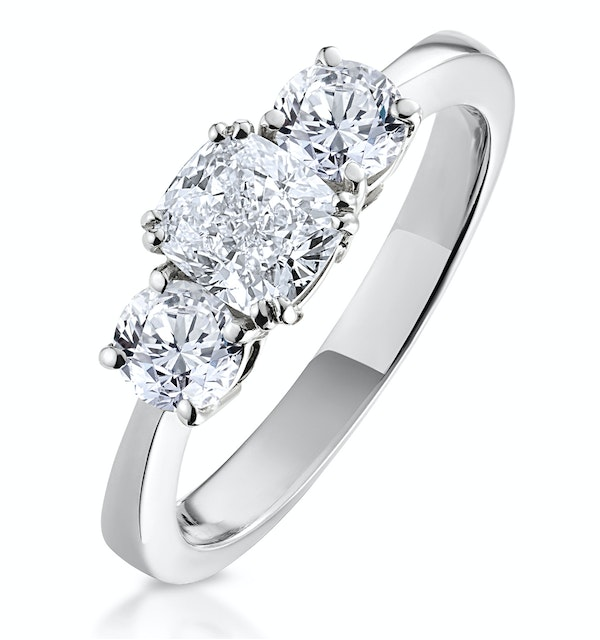 3 Stone Meghan Diamond Engagement Ring 1.7CT G/SI1 in 18K White Gold - image 1