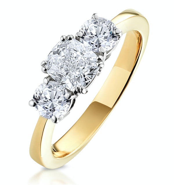 3 Stone Meghan Diamond Engagement Ring 1.7CT G/SI1 in 18K Gold - image 1