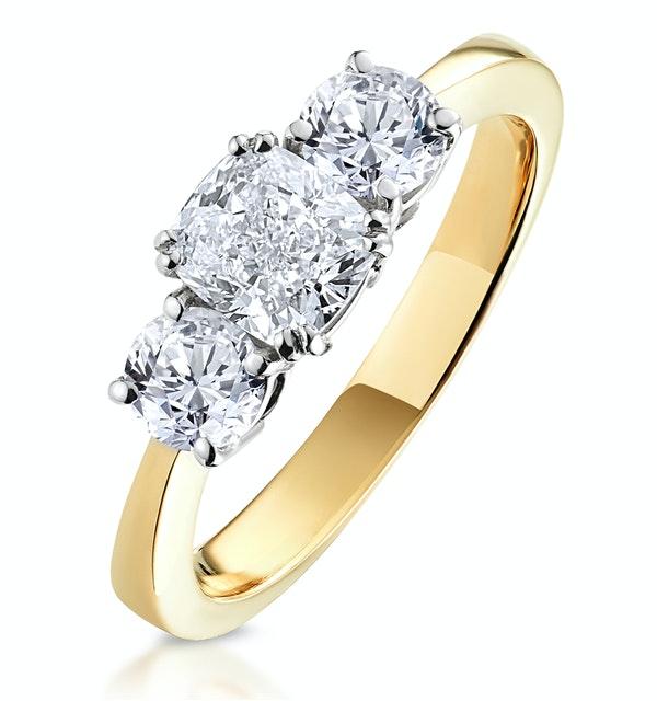 3 Stone Meghan Diamond Engagement Ring 1.7CT G/Vs1 in 18K Gold - image 1