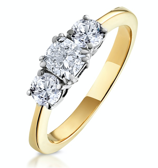 3 Stone Meghan Diamond Engagement Ring 1CT G/SI1 in 18K Gold - image 1