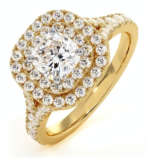 Anastasia GIA Diamond Halo Engagement Ring in 18K Gold 1.30ct G/VS2