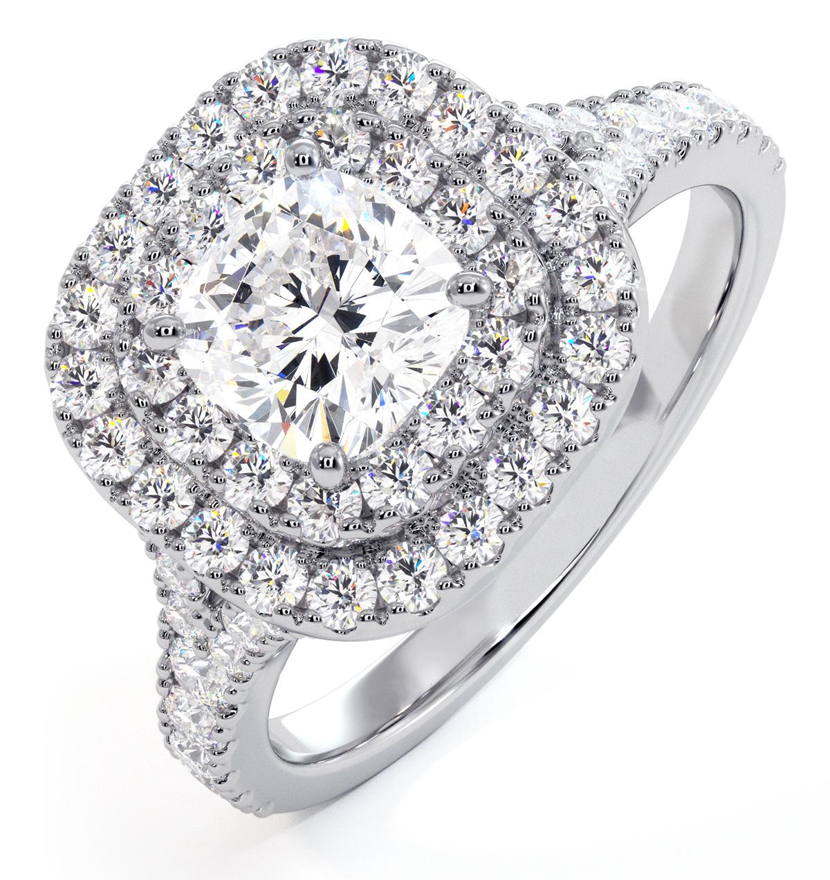 Anastasia GIA Diamond Halo Engagement Ring 18K White Gold 1.45ct G/SI1 - image 1
