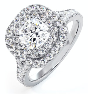 Anastasia GIA Diamond Halo Engagement Ring in Platinum 1.45ct G/SI1