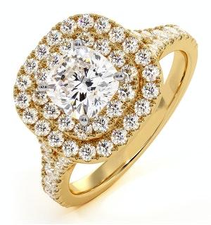 Anastasia GIA Diamond Halo Engagement Ring in 18K Gold 1.45ct G/VS1