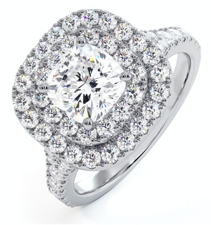 Anastasia GIA Diamond Halo Engagement Ring 18K White Gold 1.70ct G/SI2