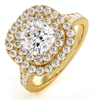 Anastasia GIA Diamond Halo Engagement Ring in 18K Gold 1.70ct G/VS1
