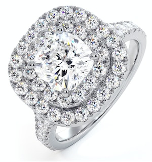 Anastasia GIA Diamond Halo Engagement Ring in Platinum 1.85ct G/SI1
