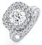 Anastasia Lab Diamond Halo Engagement Ring 18K White Gold 1.85ct G/SI1 - image 1