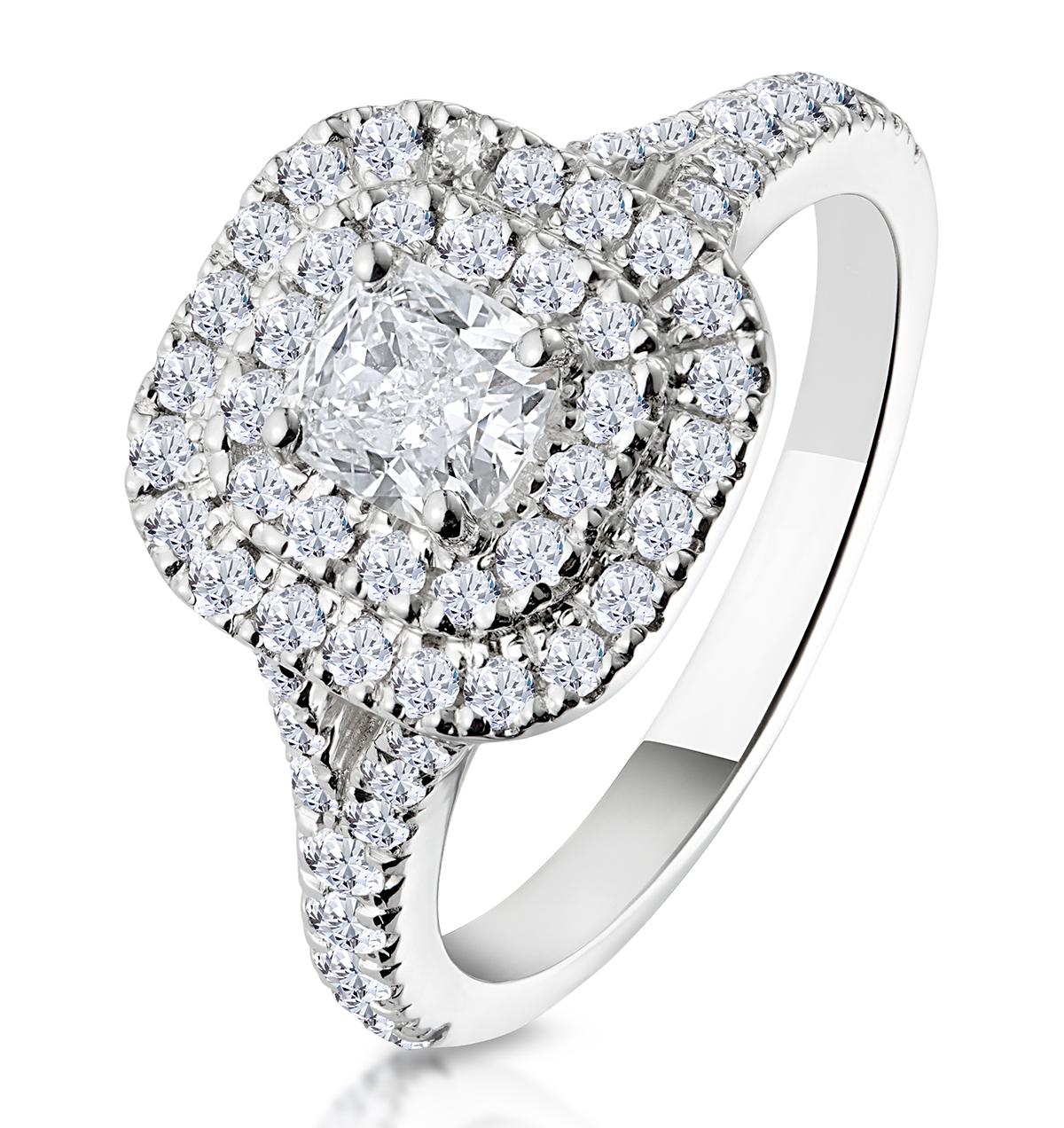 Anastasia GIA Diamond Halo Engagement Ring in Platinum 1.30ct G/SI2 - image 1
