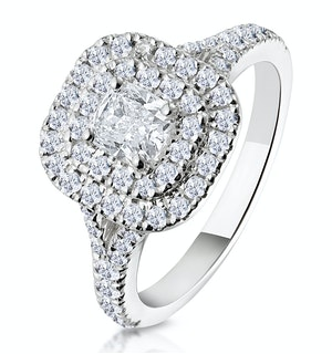 Anastasia GIA Diamond Halo Engagement Ring 18K White Gold 1.30ct G/SI1
