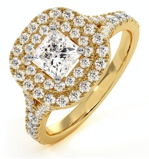 Cleopatra GIA Diamond Halo Engagement Ring in 18K Gold 1.20ct G/SI1