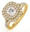 Cleopatra GIA Diamond Halo Engagement Ring in 18K Gold 1.20ct G/SI1 - image 1