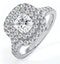 Cleopatra GIA Diamond Halo Engagement Ring in Platinum 1.45ct G/VS1 - image 1