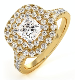 Cleopatra GIA Diamond Halo Engagement Ring in 18K Gold 1.45ct G/VS1