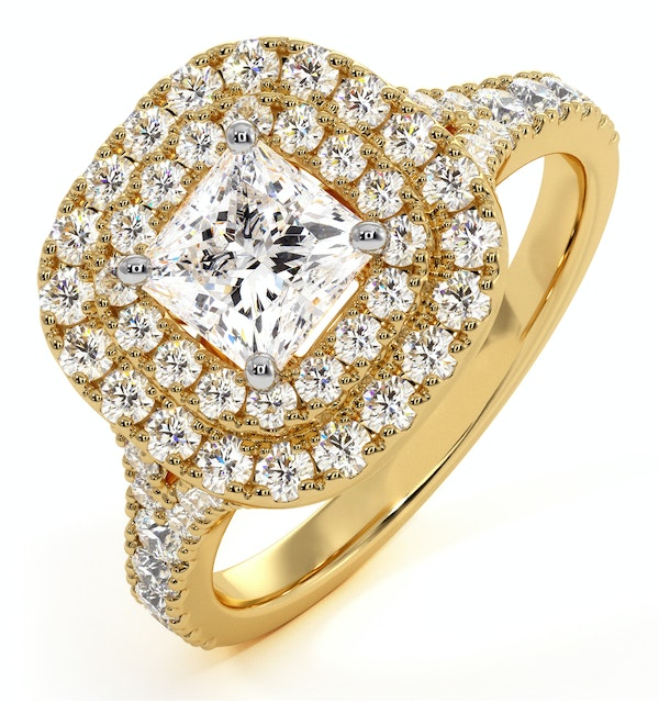 Cleopatra GIA Diamond Halo Engagement Ring in 18K Gold 1.45ct G/VS1 - image 1