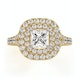 Cleopatra GIA Diamond Halo Engagement Ring in 18K Gold 1.45ct G/VS1 - image 2
