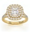 Cleopatra GIA Diamond Halo Engagement Ring in 18K Gold 1.45ct G/SI1 - image 3