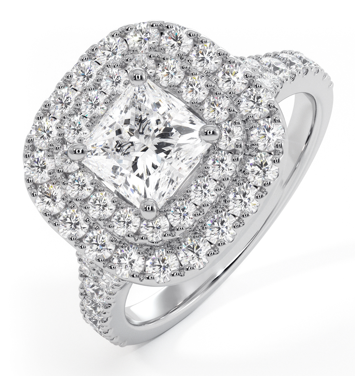 Cleopatra GIA Diamond Halo Engagement Ring 18K White Gold 1.70ct G/VS1 - image 1