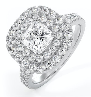 Cleopatra GIA Diamond Halo Engagement Ring 18K White Gold 1.70ct G/SI2