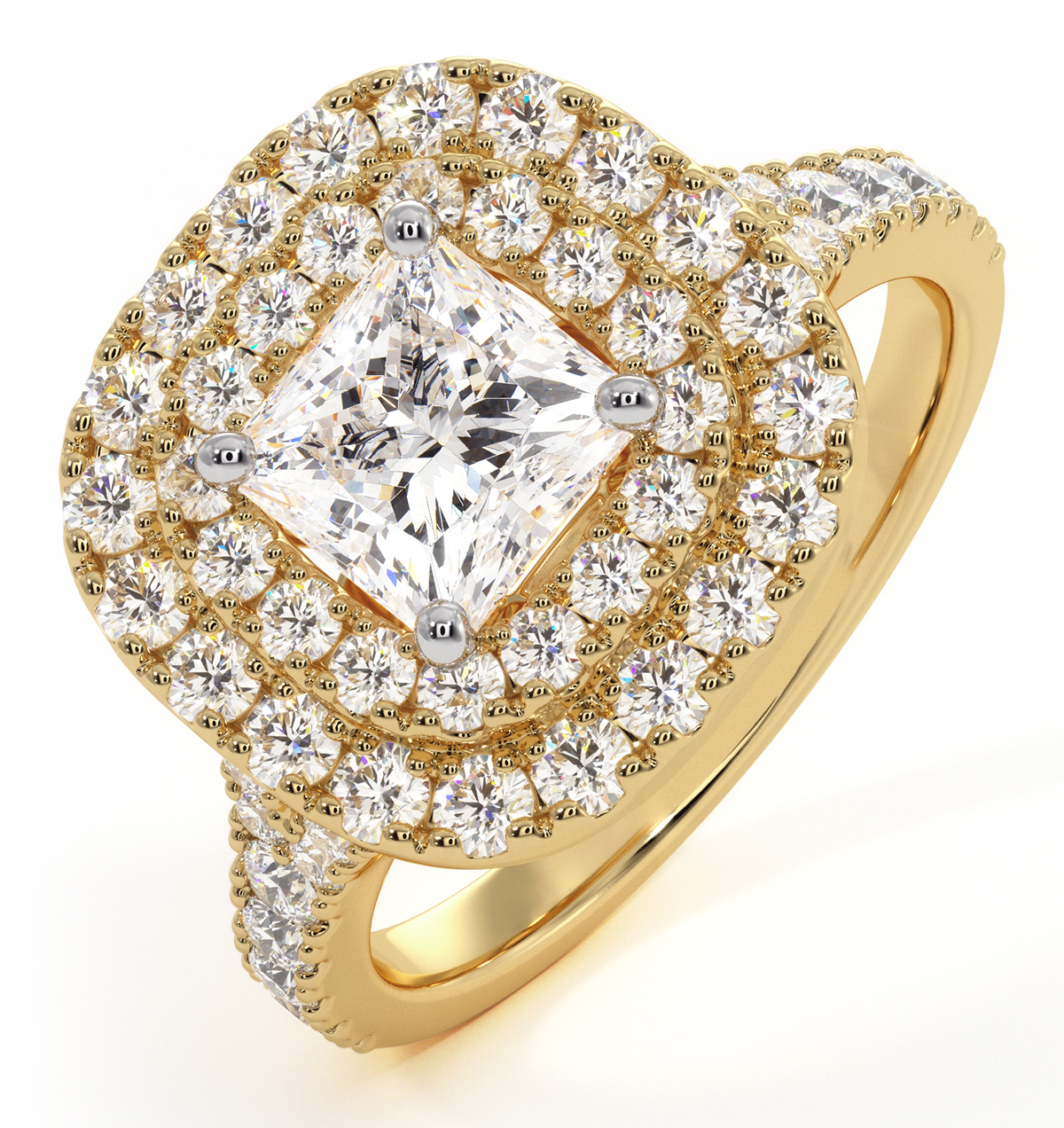 Cleopatra GIA Diamond Halo Engagement Ring in 18K Gold 1.70ct G/VS1 - image 1
