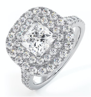 Cleopatra GIA Diamond Halo Engagement Ring in Platinum 1.85ct G/VS1