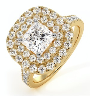 Cleopatra GIA Diamond Halo Engagement Ring in 18K Gold 1.85ct G/VS1