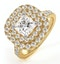 Cleopatra GIA Diamond Halo Engagement Ring in 18K Gold 1.85ct G/SI1 - image 1