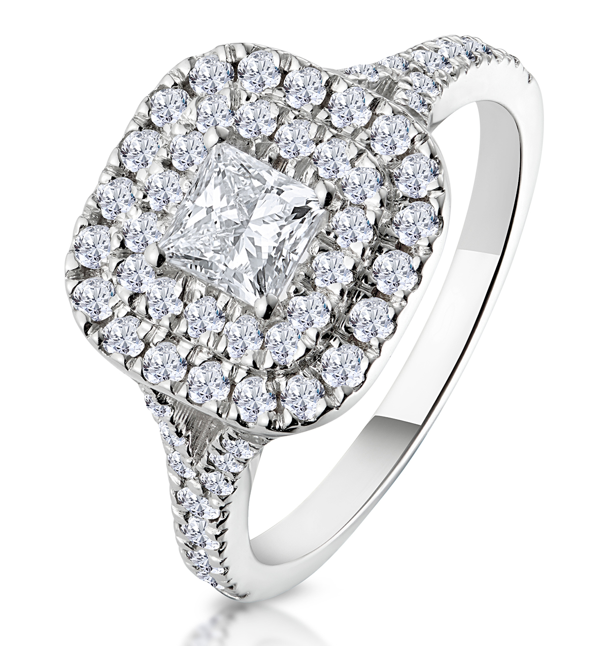 Cleopatra GIA Diamond Halo Engagement Ring in Platinum 1.20ct G/SI1 - image 1