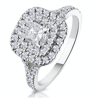 Cleopatra GIA Diamond Halo Engagement Ring 18K White Gold 1.20ct G/SI1