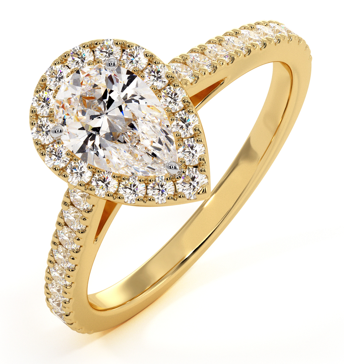 Diana GIA Diamond Pear Halo Engagement Ring in 18K Gold 1ct G/VS2 - image 1