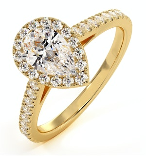 Diana GIA Diamond Pear Halo Engagement Ring in 18K Gold 1ct G/VS1