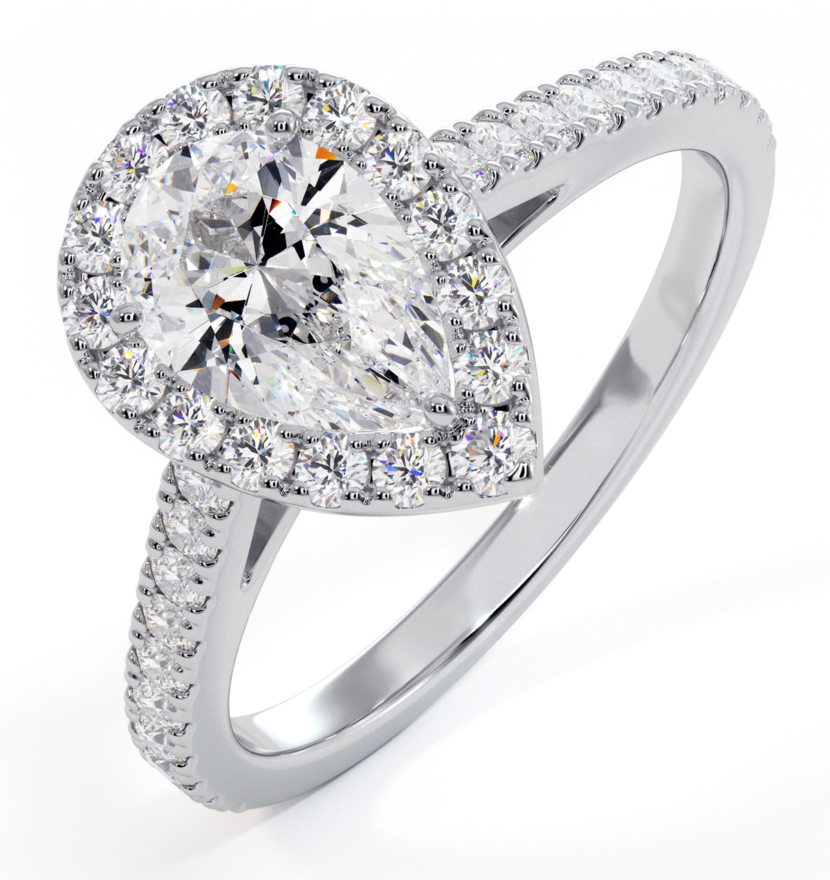 Diana GIA Diamond Pear Halo Engagement Ring 18KW Gold 1.35ct G/SI2 - image 1
