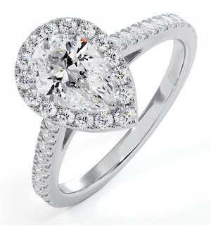 Diana GIA Diamond Pear Halo Engagement Ring Platinum 1.35ct G/SI1