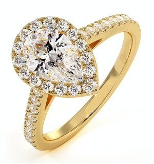 Diana GIA Diamond Pear Halo Engagement Ring in 18K Gold 1.35ct G/SI1