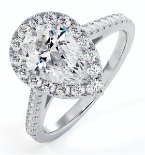 Diana GIA Diamond Pear Halo Engagement Ring 18KW Gold 1.60ct G/SI2