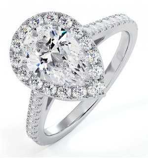 Diana GIA Diamond Pear Halo Engagement Ring Platinum 1.60ct G/SI2