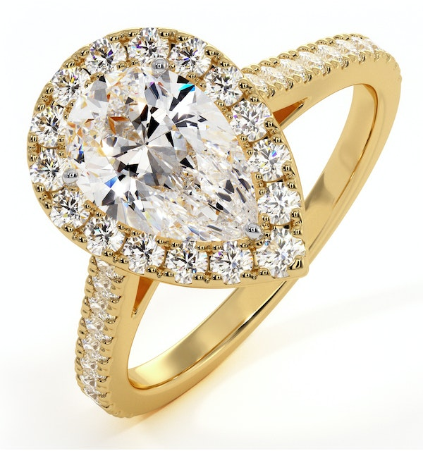 Diana GIA Diamond Pear Halo Engagement Ring in 18K Gold 1.60ct G/SI1 - image 1